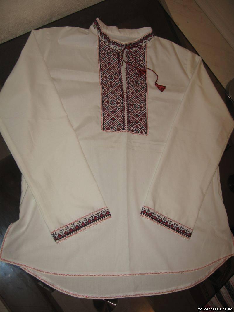 Вышивка на рукавах мужской рубахи 78
